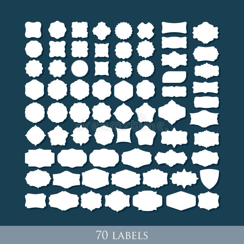 Ensemble de 70 rétros formes de label pour la conception illustration libre de droits