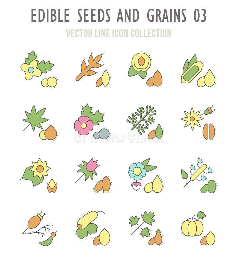 Ensemble de rétros icônes des graines comestibles et des grains illustration de vecteur