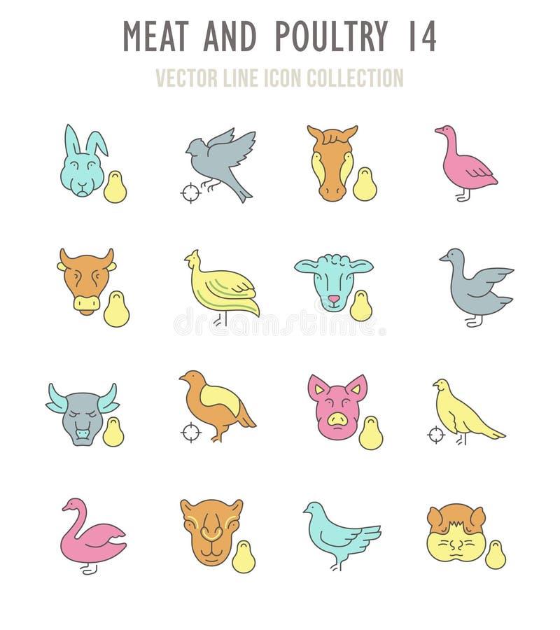 Ensemble de rétros icônes de viande et de volaille illustration libre de droits