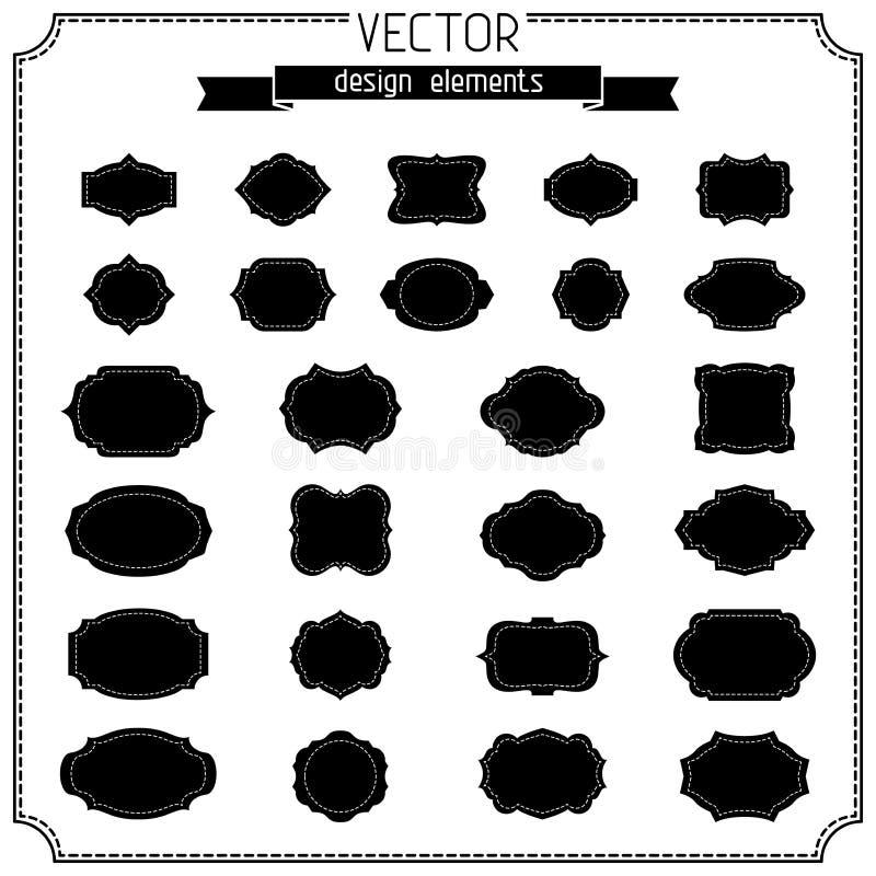 Ensemble de rétros insignes et d'étiquettes de cru illustration de vecteur
