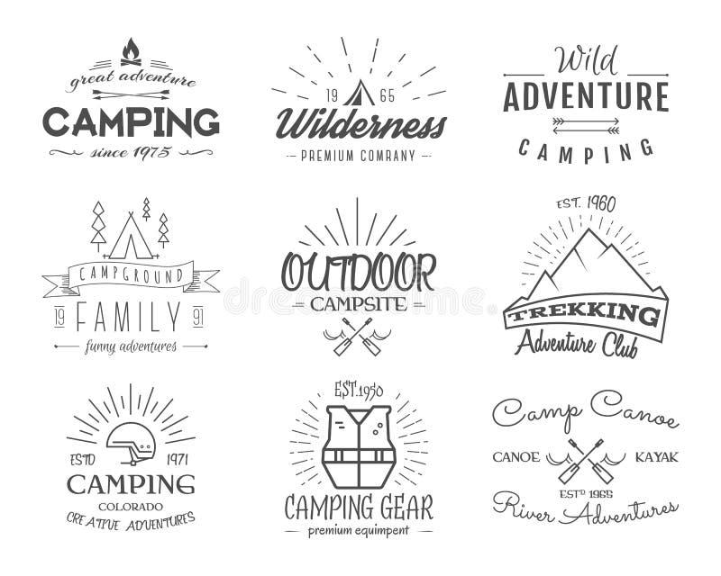 Ensemble de rétros insignes et de graphiques de logo de label illustration de vecteur