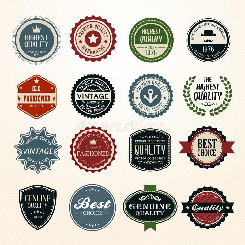 Ensemble de rétros insignes et de labels de vintage illustration de vecteur