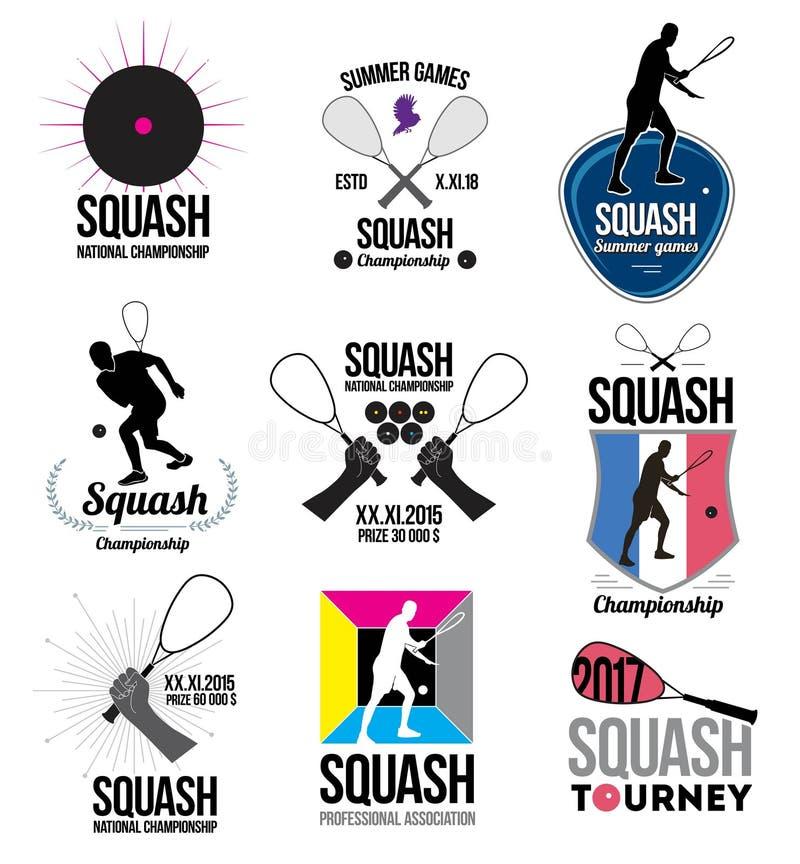 Ensemble de rétros logos de courge, d'emblèmes et d'éléments de conception illustration libre de droits
