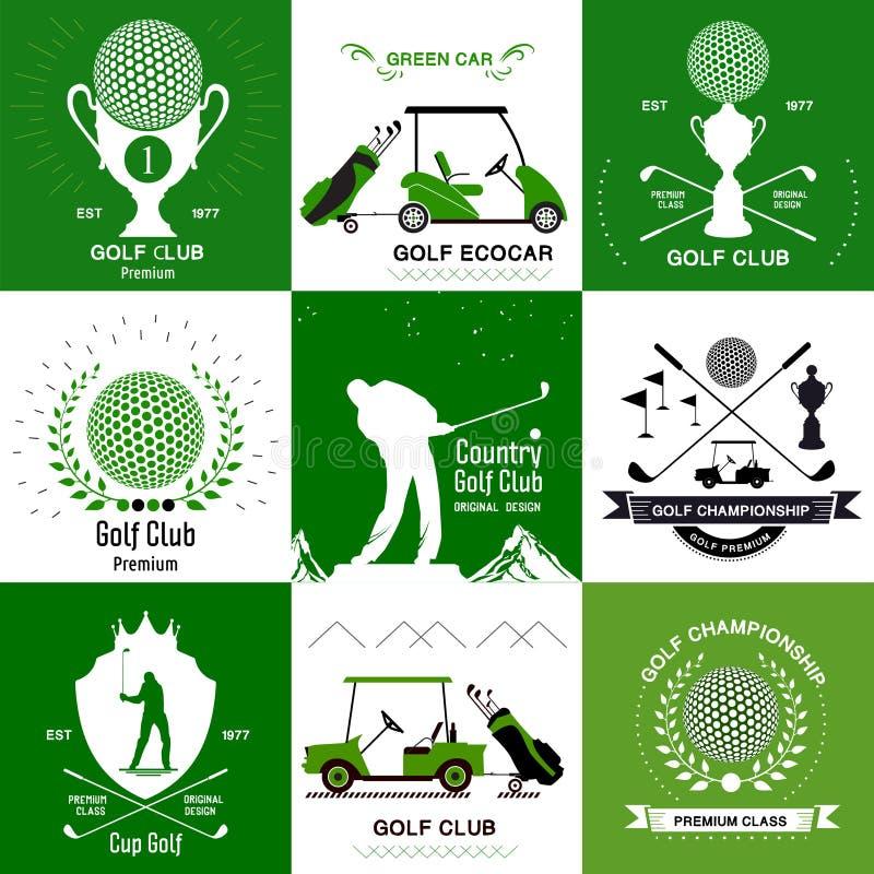 Ensemble de rétros logos de golf, emblèmes illustration stock