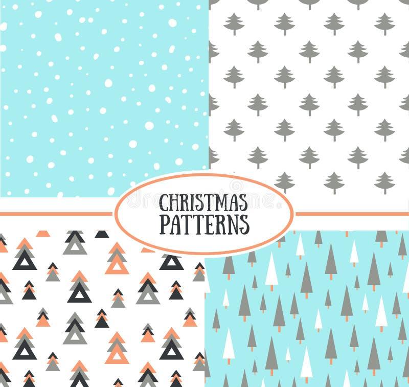 Ensemble de rétros modèles simples de Noël illustration stock