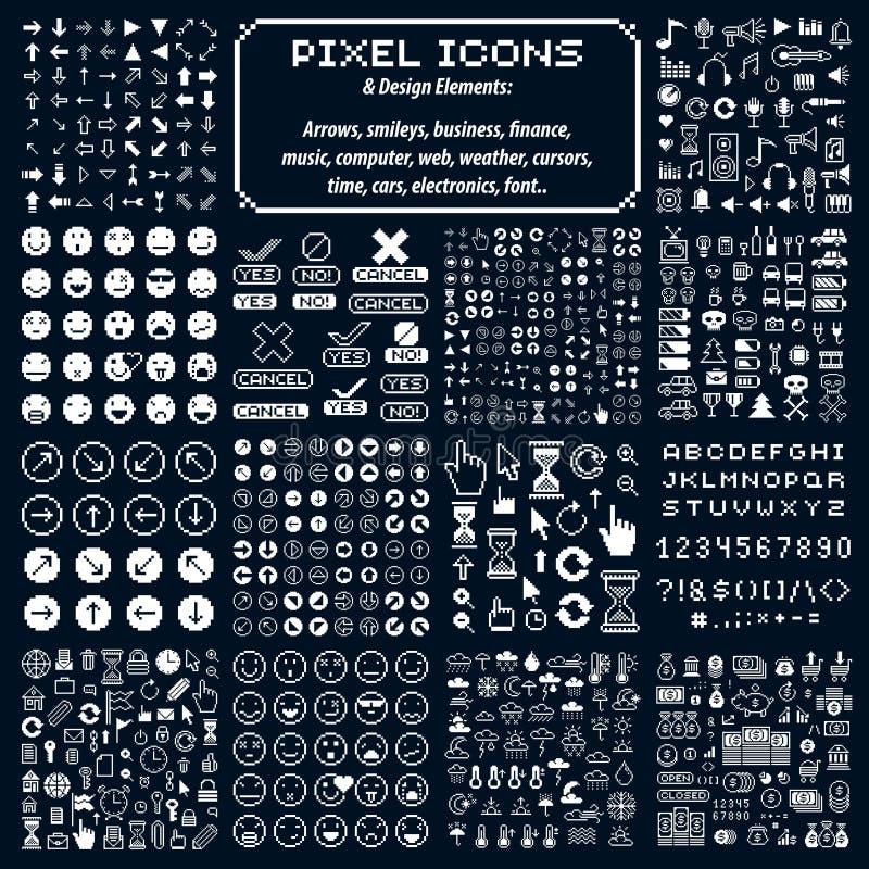 Ensemble de rétros signes de vecteur faits dans le style d'art de pixel Geo différent illustration de vecteur
