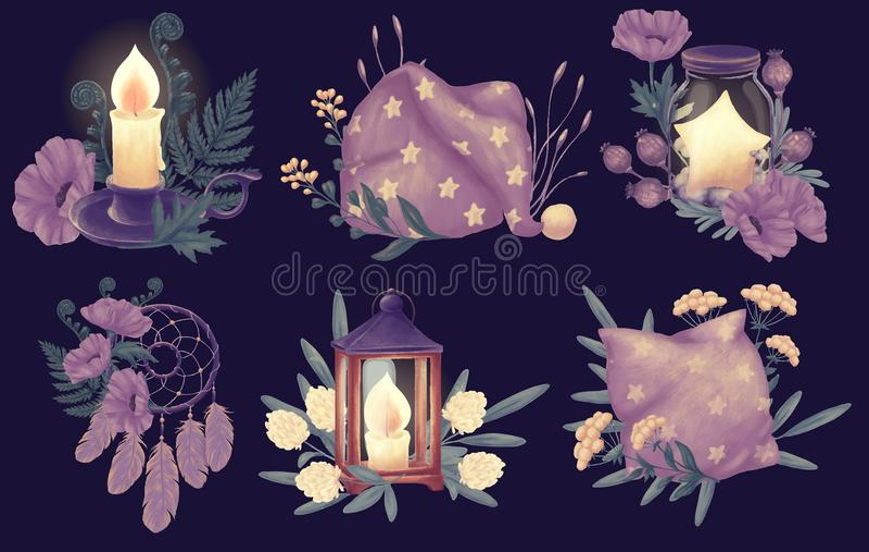 Ensemble de rêve de bonne nuit illustration stock