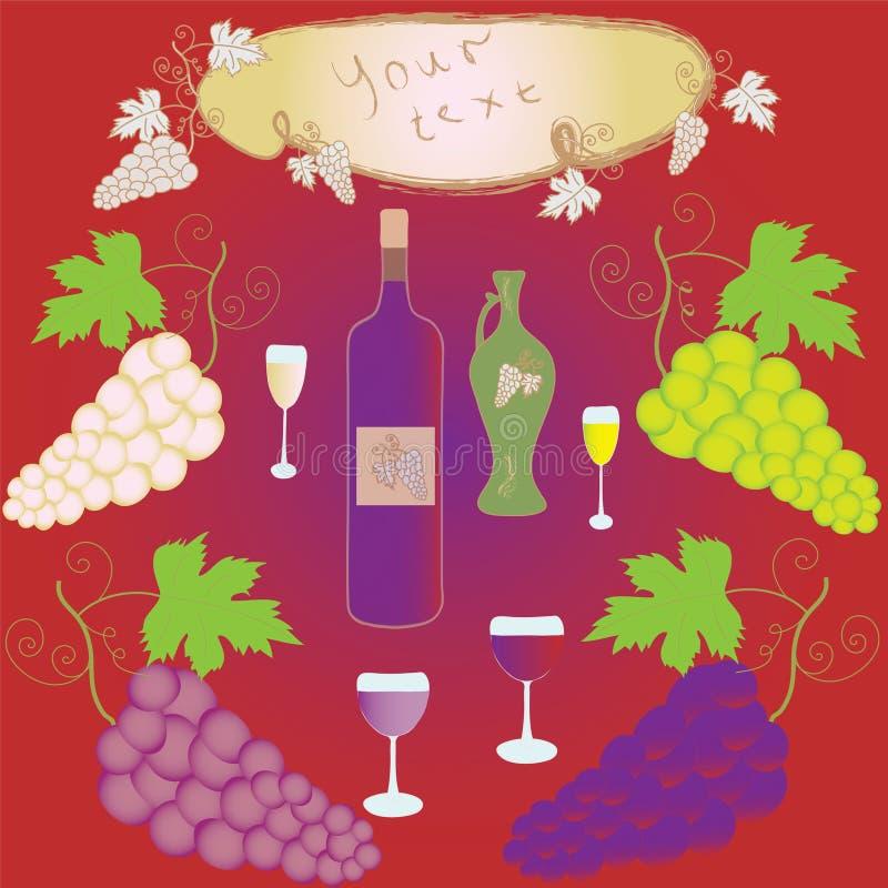 Ensemble de raisins, de verre à vin, de bouteille et de trame illustration de vecteur