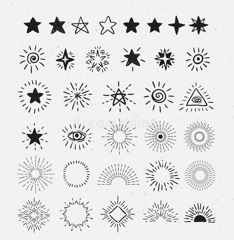 Ensemble de rayon de soleil et d'étoiles de vintage Éléments tirés par la main de conception de hippie de vecteur illustration de vecteur
