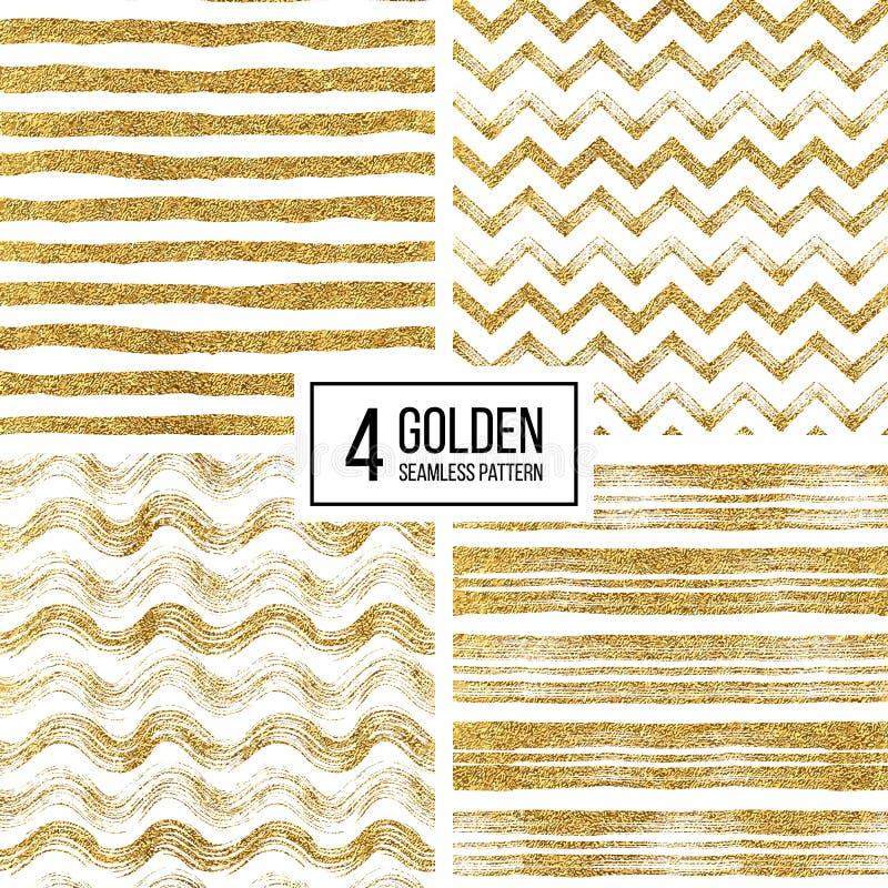 Ensemble de rayures sans couture de scintillement d'or de modèle, chevron de zigzag, rayure onduleuse illustration de vecteur