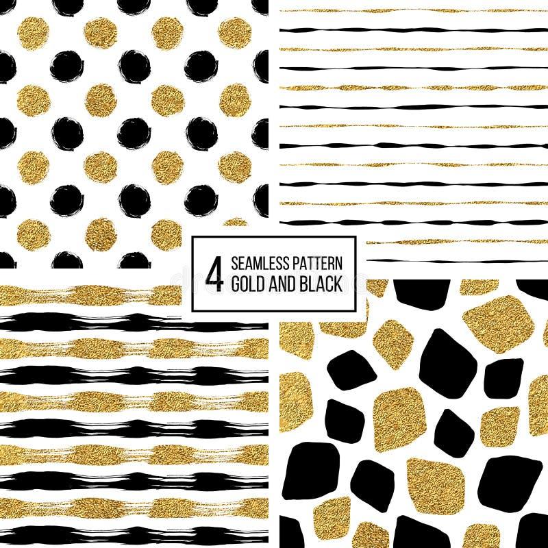 Ensemble de rayures sans couture grunges d'or de noir de modèle, points de polka, taches de mosaïque illustration stock