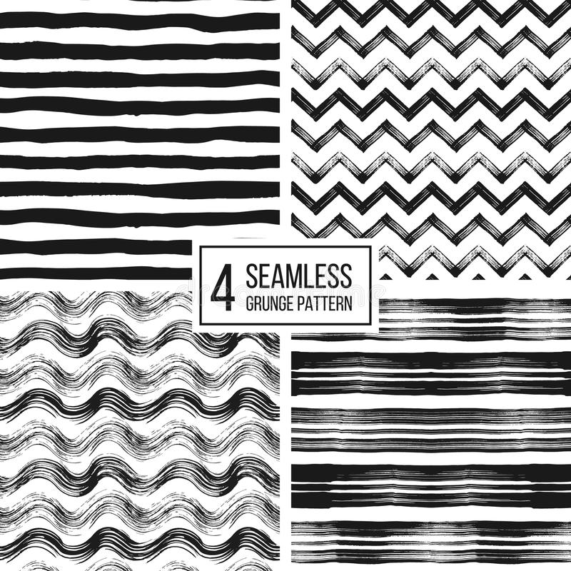 Ensemble de rayures sans couture grunges de modèle, vagues, chevron de zigzag illustration de vecteur
