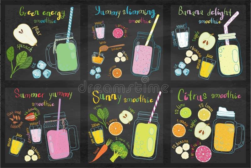 Ensemble de recettes de smoothie de fruits illustration libre de droits