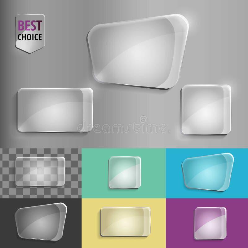 Ensemble de rectangle et de place d'icônes en verre de forme avec l'ombre molle sur le fond de gradient Illustration de vecteur E photos stock