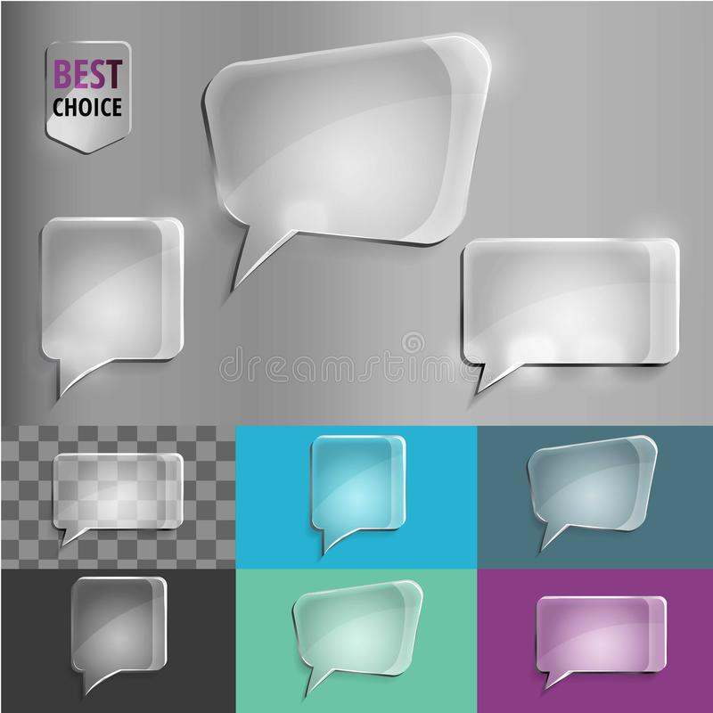 Ensemble de rectangle et de place d'icônes en verre de la parole de forme avec l'ombre molle sur le fond de gradient Illustration images libres de droits