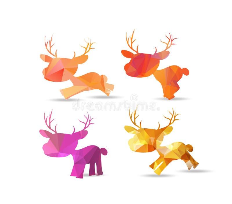 Ensemble de renne polygonal, conception de Noël illustration de vecteur