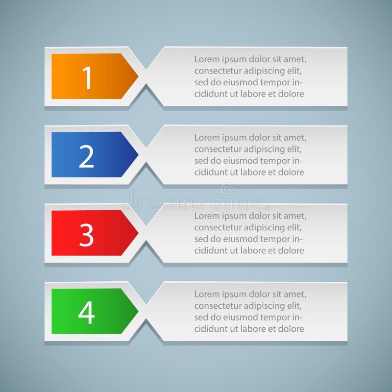 Ensemble de repères, autocollants, labels, étiquettes bannières numérotées Les affaires font un pas calibre d'infographics illustration de vecteur