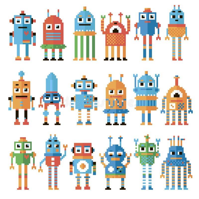 Ensemble de robots de pixel illustration de vecteur