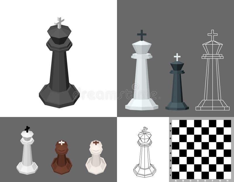 Ensemble de roi d'échecs illustration du vecteur 3d Projection isométrique Franc illustration stock