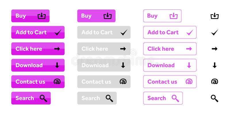 Ensemble de rose de boutons de Web avec des icônes images libres de droits
