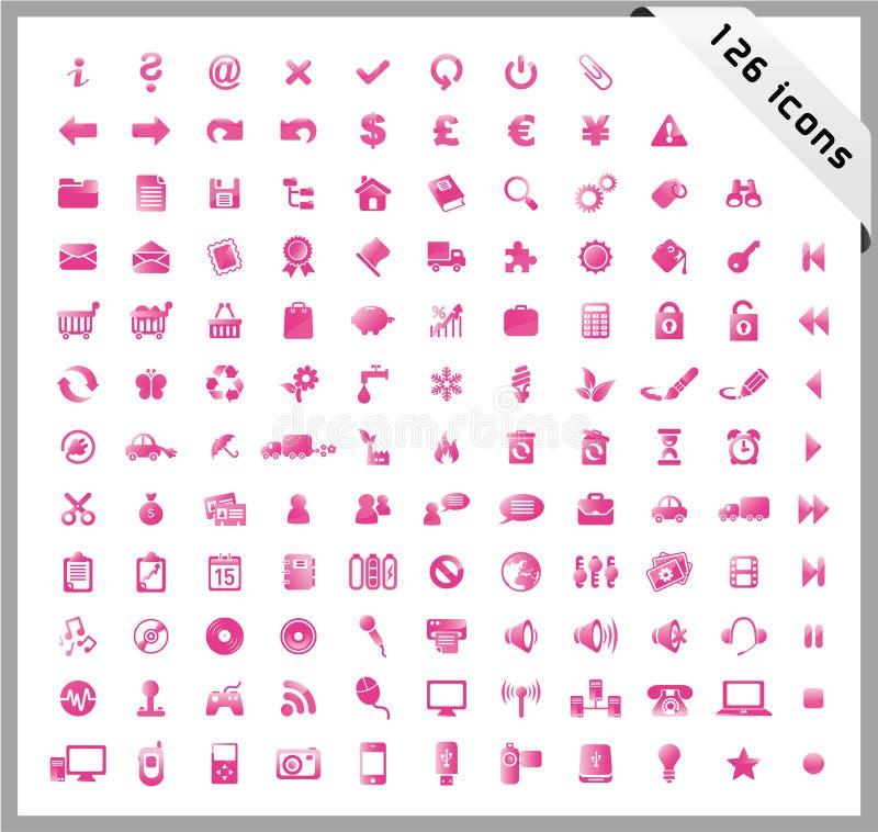 Ensemble de rose de 126 graphismes brillants illustration libre de droits