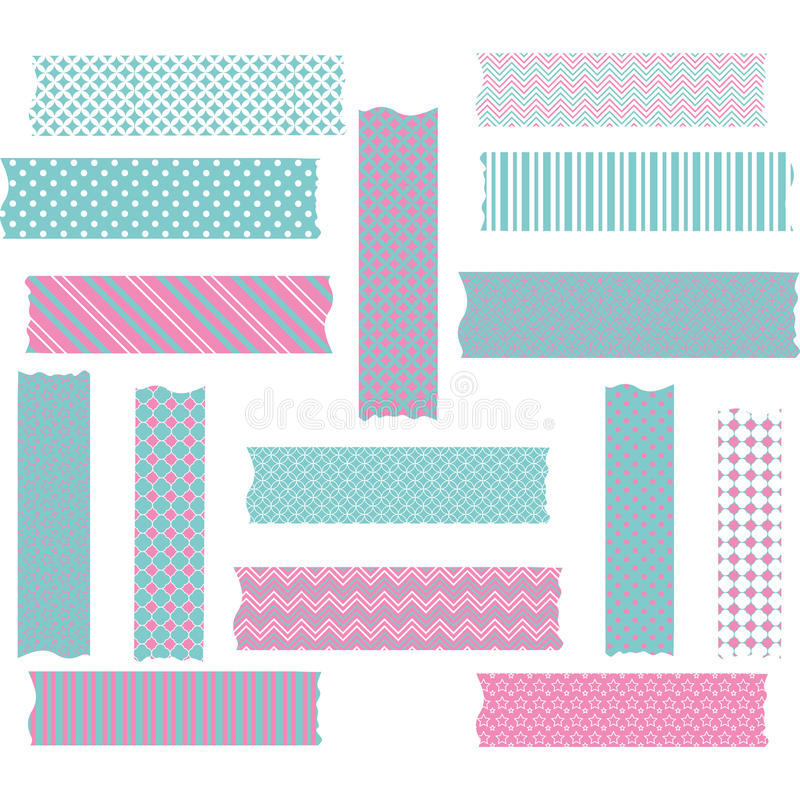 Ensemble de rose et d'Aqua Washi Tape Graphics illustration de vecteur