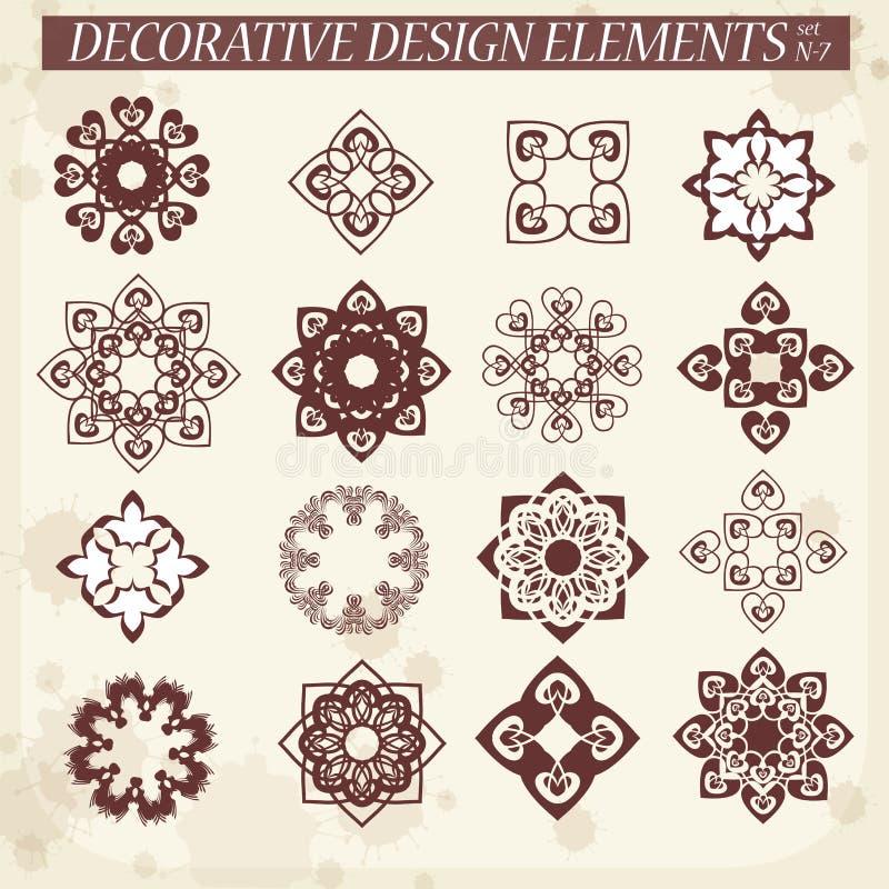 Ensemble de rosettes décoratives de vecteur illustration libre de droits