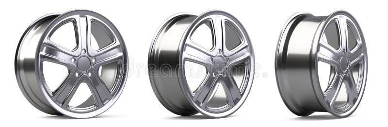 Ensemble de roues d'alliage d'aluminium resoluti de haute qualité de l'illustration 3D illustration libre de droits