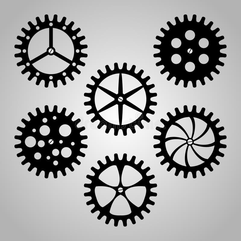 Ensemble de roues dentées, de pignons et de vitesses illustration libre de droits