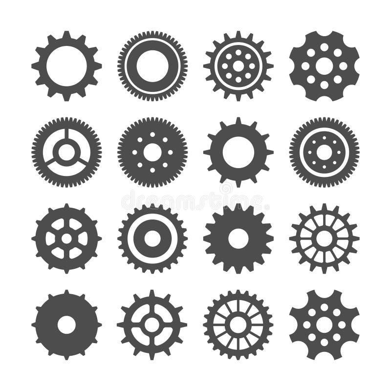 Ensemble de roues de vitesse Rétro collection de roues dentées de cru Graphismes industriels Illustration de vecteur illustration libre de droits