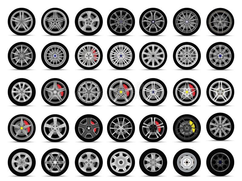 Ensemble de roues de voiture illustration de vecteur