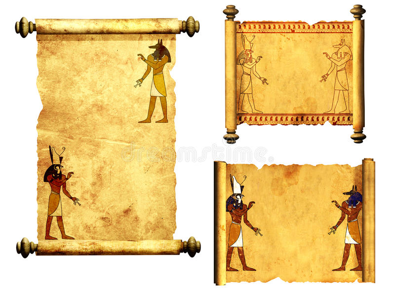 Ensemble de rouleaux avec des images égyptiennes de dieux - Anubis et Horus illustration stock