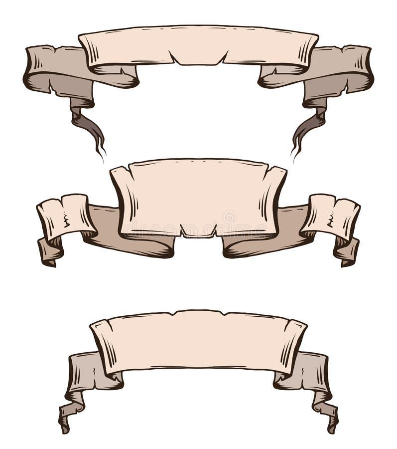 Ensemble de rouleaux et de rubans antiques de vintage avec l'espace pour le texte illustration de vecteur