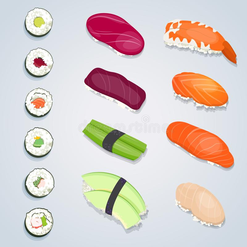 Ensemble de roulis de sushi illustration stock