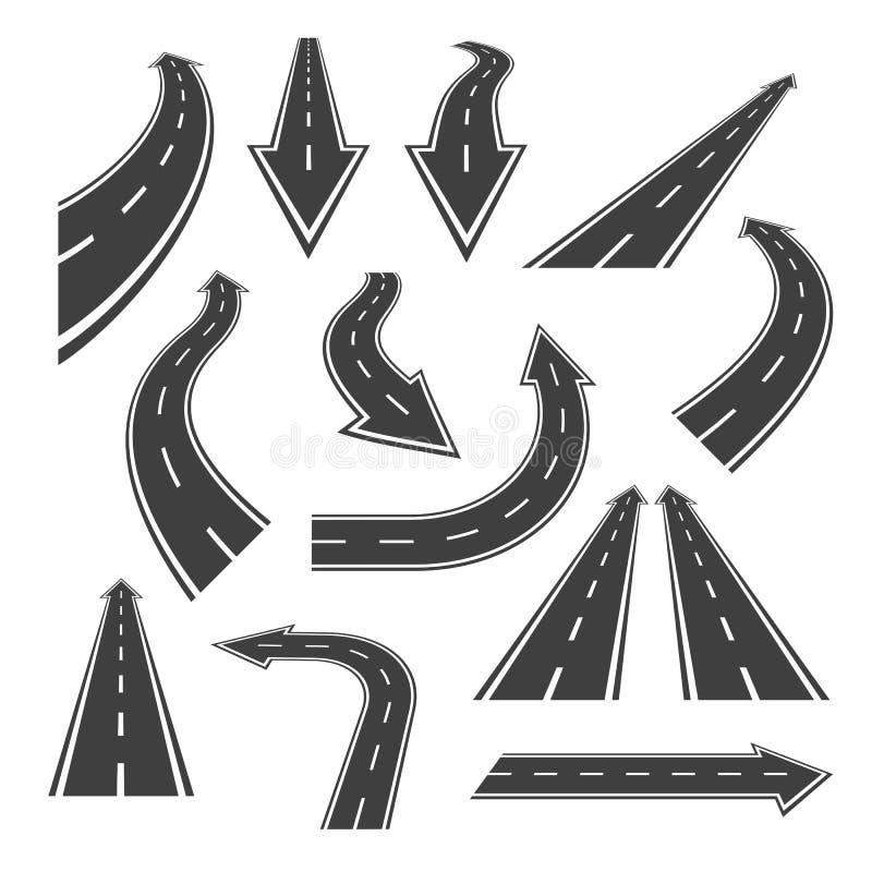 Ensemble de route de flèche Flèches de route avec les taches blanches illustration libre de droits