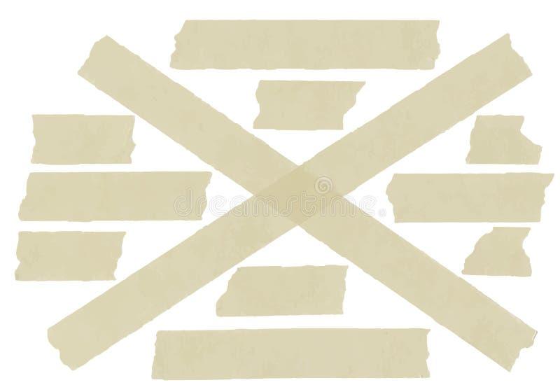 Ensemble de ruban adhésif croisé Illustration de vecteur illustration stock