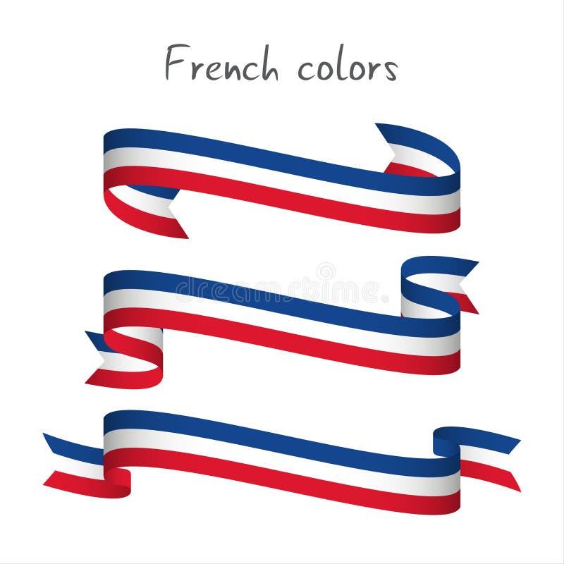 Ensemble de ruban coloré moderne du vecteur trois avec le tricol français illustration stock