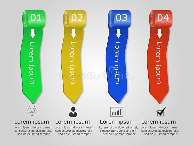 Ensemble de rubans colorés abstraits Infographic Élément de conception Illustration de vecteur illustration libre de droits