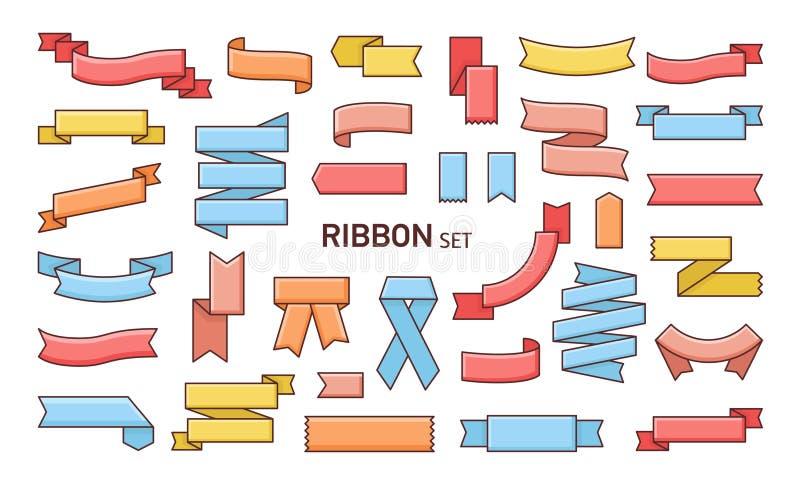 Ensemble de rubans colorés de différentes formes Le paquet de bandes, de bandes ou de bandes s'est plié de la diverse manière Con illustration libre de droits