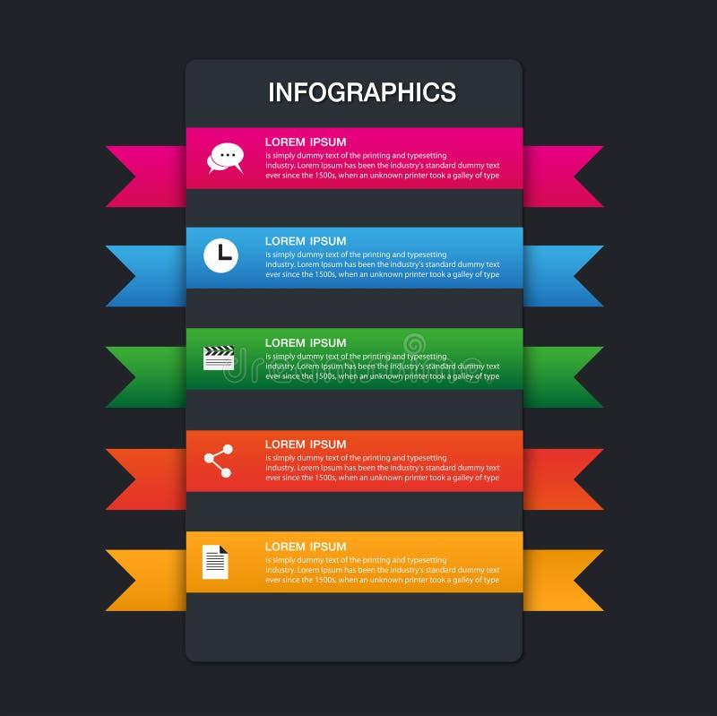 Ensemble de rubans Conception d'Infographic, 5 options illustration libre de droits