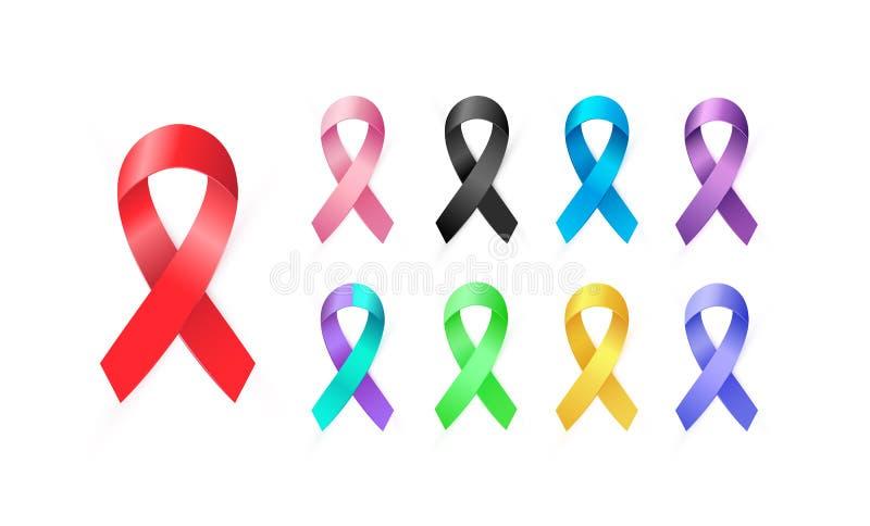 Ensemble de rubans de la conscience 3d dans différentes couleurs Type médical coloré icône illustration de vecteur