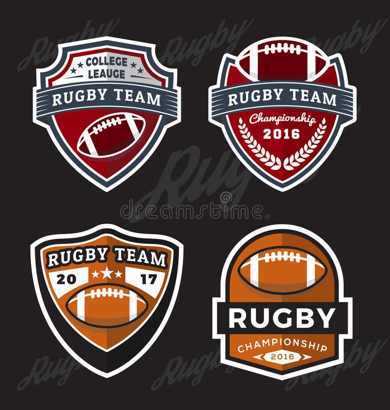 Ensemble de rugby et de football Logo Template illustration libre de droits
