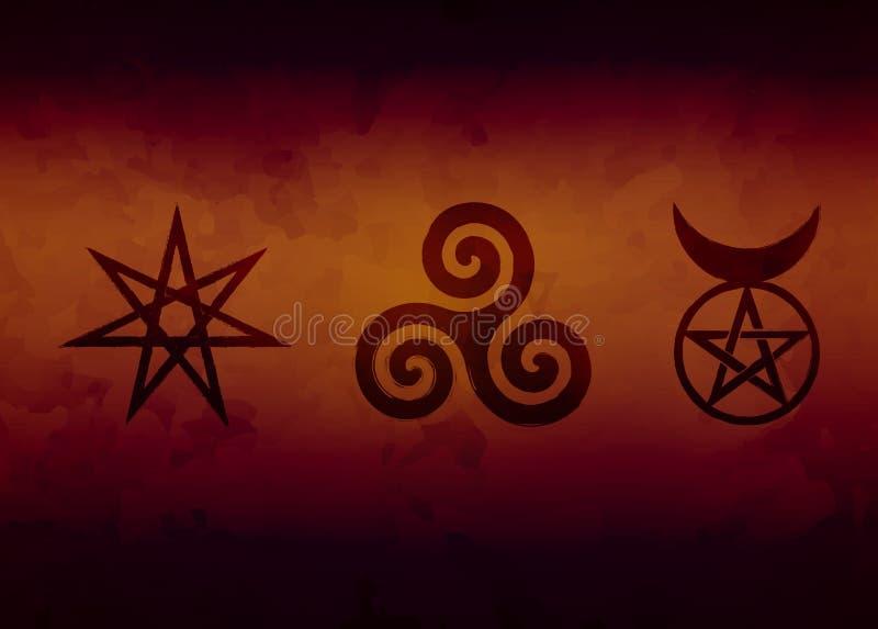 Ensemble de runes de sorcières, symboles wiccan de divination Symboles occultes antiques, sur le blanc Illustration de vecteur illustration stock