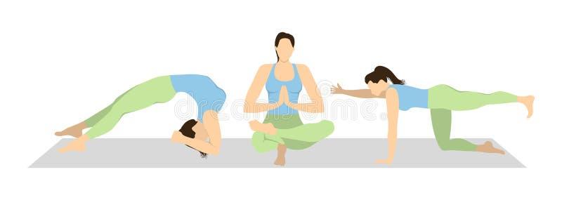 Ensemble de séance d'entraînement de yoga illustration libre de droits
