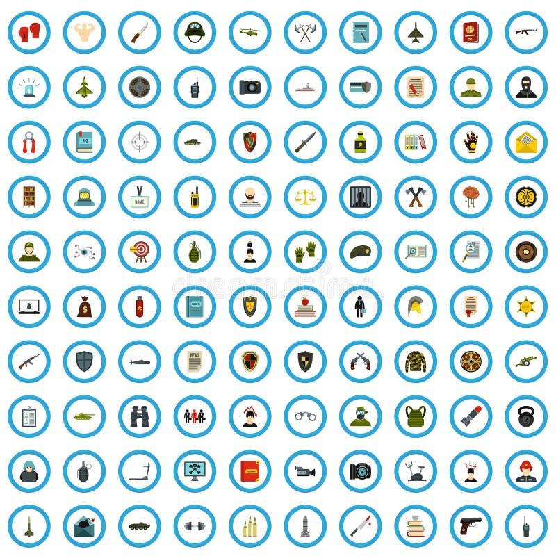 ensemble de 100 de sécurité icônes de livre, style plat illustration stock
