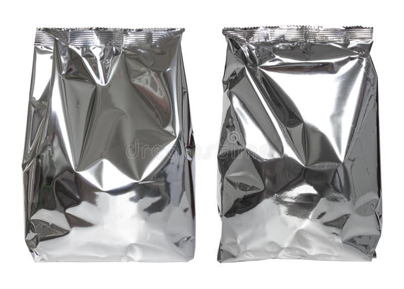 Ensemble de sac de paquet d'aluminium d'isolement sur le blanc photos libres de droits