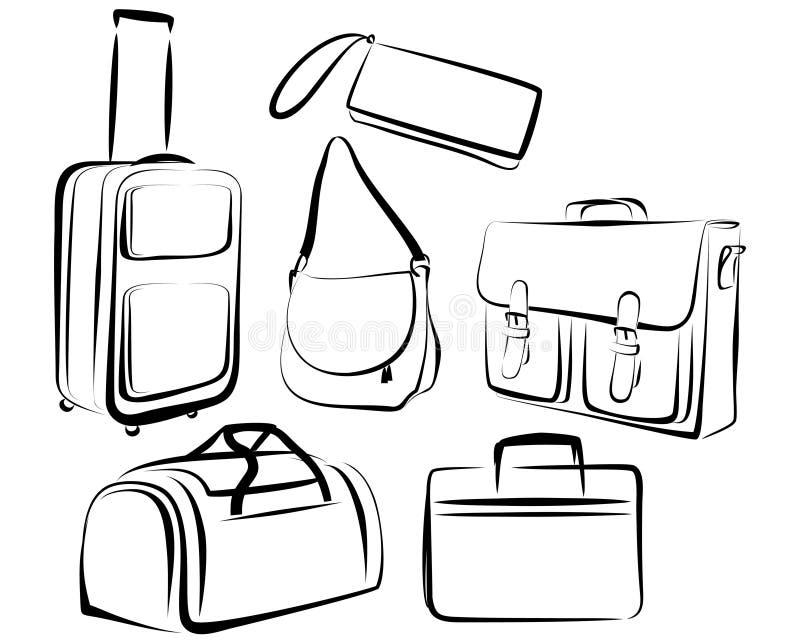 Ensemble de sacs illustration de vecteur