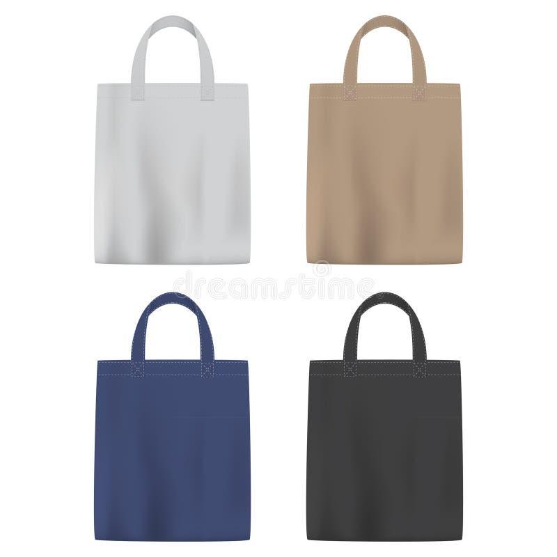 Ensemble de sacs colorés de vecteur avec la poignée illustration de vecteur