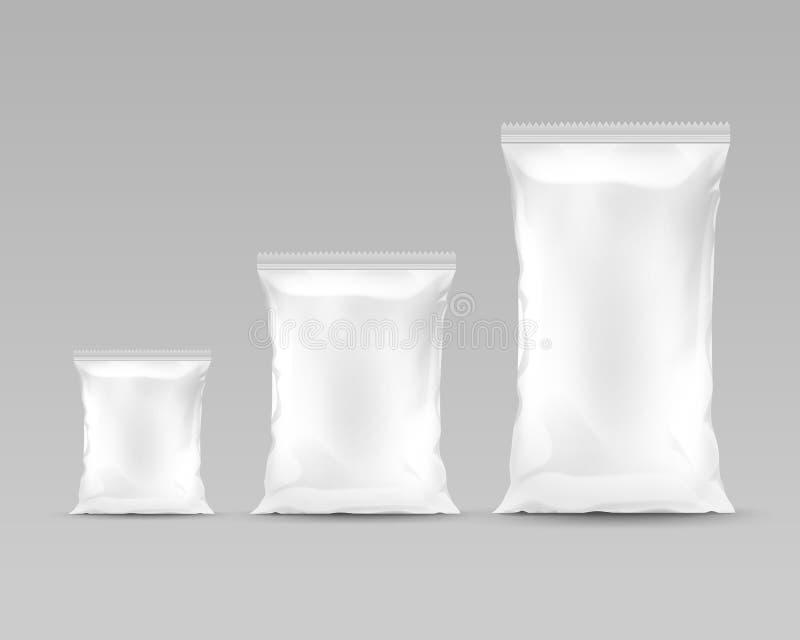 Ensemble de sacs en plastique d'aluminium scellés par verticale illustration libre de droits