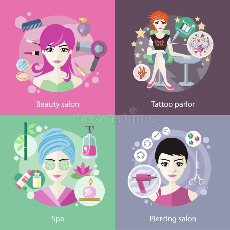 Ensemble de salons, tatouage de beauté, perçant illustration stock